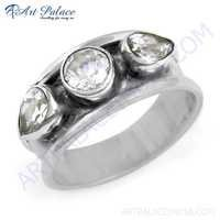 Charming Cubic Zirconia Gemstone Silver Ring