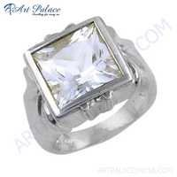 Square Shape Cubic Zirconia Gemstone Sterling Silver Ring