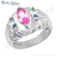 Charming Blue Topaz & Pink Cubic Zirconia & White Cubic Zirconia Gemstone Silver Ring