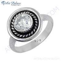 Party Wear 925 Sterling Silver Cubic Zirconia Gemstone Ring
