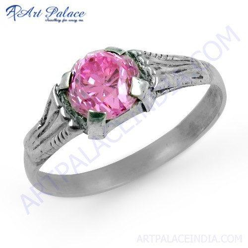 Attention Lover Pink Cubic Zirconia Gemstone Silver Ring
