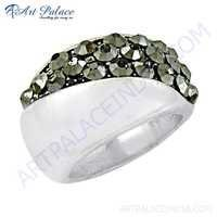 Valuable Gun Metal Gemstone 925 Sterling Silver Ring