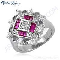 Precious Antique Cubic Zirconia & Red Cubic Zirconia Gemstone Silver Ring