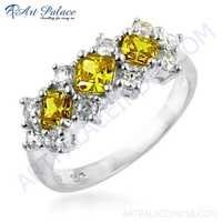 Feminine Unique Design Cubic Zirconia & Yellow Cubic Zirconia Gemstone Silver Ring