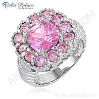 Hot! Dazzling Pink Cubic Zirconia Gemstone Silver Ring