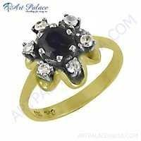 Celeb Style Cubic Zirconia & Iolite Gemstone Silver Ring