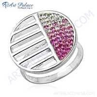 Unique Cubic Zirconia & Pink Cubic Zirconia  925 Sterling Silver  Ring