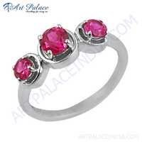 Stylish 925 Sterling Silver Red Cubic Zirconia Gemstone Ring