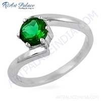 Fashion Accessories Green Cubic Zirconia Gemstone Silver Ring