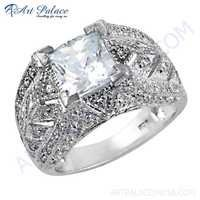 Beautiful Antique Style Cubic Zirconia Gemstone Silver Ring