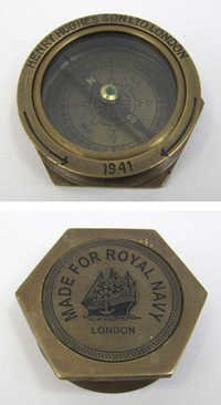 Engraved Brass Henry Hughes / Royal Navy Compass