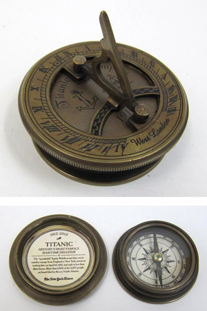 Engraved Brass Titanic Compass With Folding Sundial, Screw-On Lid, Hexagon Base