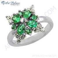 Delicate Flower Cubic Zirconia & Green Cubic Zirconia Gemstone Silver Ring