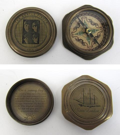 Engraved Beatle Finder Compass, Screw-On Lid, Hexagon Base