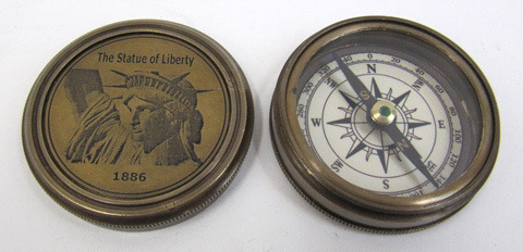 Engraved Brass Statue Of Liberty Compass, Screw-On Lid, Round Base