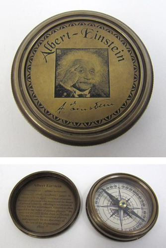 Engraved Brass Albert Einstein Compass B, Screw-On Lid
