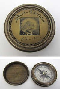 Engraved Brass Albert Einstein Compass B, Screw-On Lid   2''