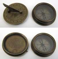 Engraved Brass Titanic Compass With Folding Sundial, Screw-On Lid, Round Base  2''