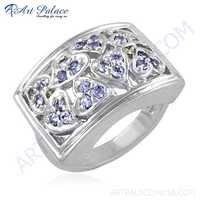 HOT Luxury Fashion Iolite Gemstone Silver Ring
