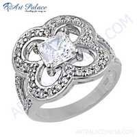 Lastest Luxury Cubic Zirconia Silver Gemstone Ring