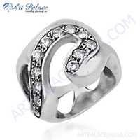 Glamour Style Cubic Zirconia Gemstone Silver Ring