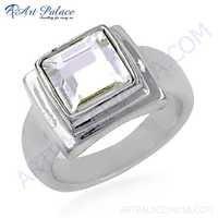 High Quality Crystal Silver Gemstone Ring