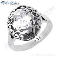 Popular Design Cubic Zirconia Gemstone Silver Ethnic Work Ring