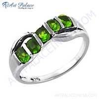 Rocking Style Green Cubic Zirconia Gemstone Silver Ring