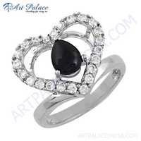 Antique Heart Style Black Onyx & Cubic Zirconia Gemstone Silver Ring