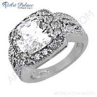 Traditional 925 Sterling Silver Cubic Zirconia Gemstone Ring