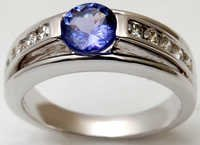 white gold accent diamond, tanzanite eternity ring