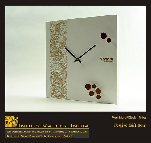 Wall Mural Clock - Tribals