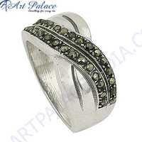 Bypass Style Gun Metal Gemstone Silver Marcasite Ring