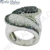 Anniversary Delight Black Zirconia & Cubic Zirconia Silver Marcasite Ring