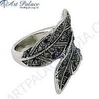 Leaf Style Gun Metal Gemstone Marcasite Silver Ring