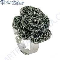 Cute Rose Style Gun Metal Gemstone Silver Marcasite Ring
