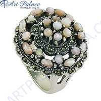 Indian Designer Gun Metal & Mother Of Pearl Gemstone Silver Marcasite Ring