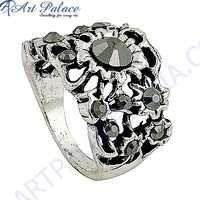 Marcasite Gun Metal Gemstone SIlver Ring Jewelry