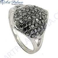 Wholesale Handmade Marcasite Gun Metal Gemstone Silver Ring