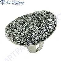 Precious Antique Style Gun Metal Gemstone Marcasite Silver Ring