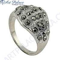 Latest Fashion Gun Metal Gemstone Marcasite Silver Ring