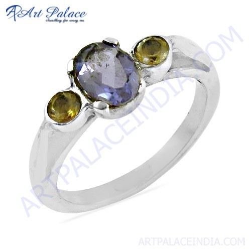 Trendy Amethyst & Citrine Gemstone Silver Ring