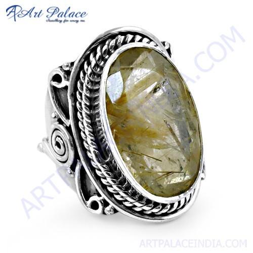 Ethnic Designer Golden Rutil Gemstone Silver Ring