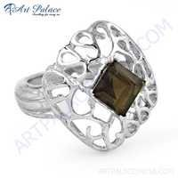 Fret Work Designer Smokey Quartz Gemstone Silver Ring