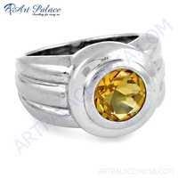 New Extra Shine Citrine Gemstone Silver Ring