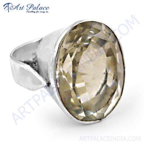 Classy Crystal Gemstone Silver Ring