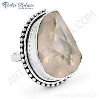 Romantic Rose Quartz Gemstone Silver Stylish Ring