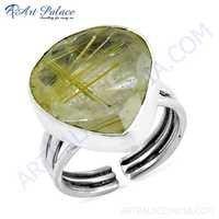 Heart Style Golden Rutil Gemstone Silver Ring