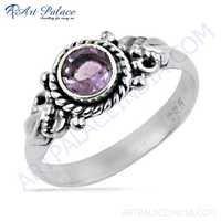 Ethnic Designer Amethyst Gemstone Silver Ring