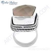 Excellent New Fashionable Rose Quartz Gemstone Silver Ring